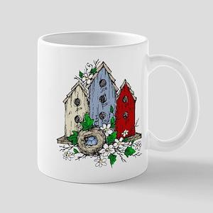 Three Birdhouses and a Nest copy Mugs