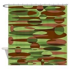 Green and Brown Spheres 7200x7200 Shower Curtain