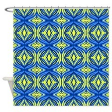 Wavy blue and yellow lines Shower Curtain