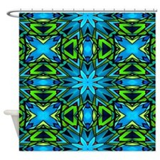 Blue and Green Stained Glass Shower Curtain