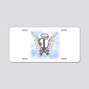 Letter T Monogram Aluminum License Plate