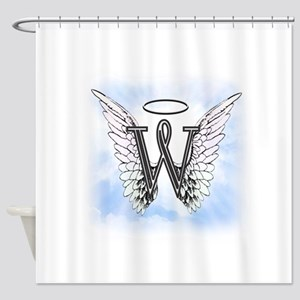 Letter W Monogram Shower Curtain