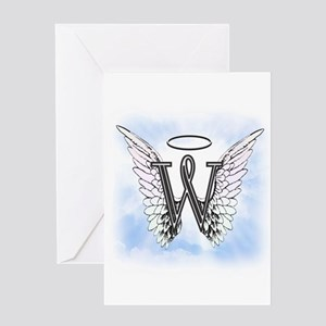 Letter W Monogram Greeting Cards