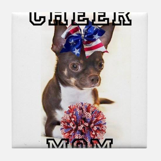 Cheer Mom Chihuahua Dog Tile Coaster