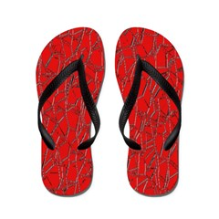 Red Cracked Leather Flip Flops Flip Flops