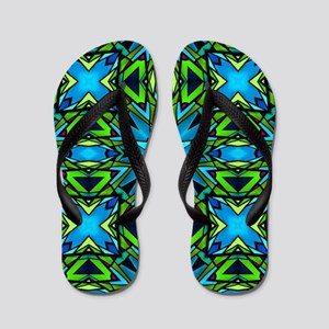 Blue and Green Stained Glass Flip Flops