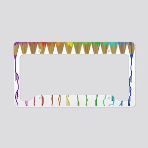 Melting Rainbow Pencils License Plate Holder