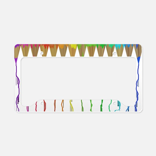 Melting Rainbow Pencils License Plate Holder