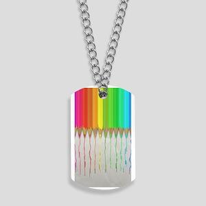 Melting Rainbow Pencils Dog Tags