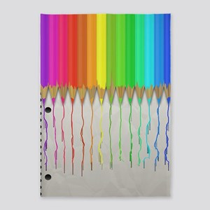 Melting Rainbow Pencils 5'x7'Area Rug