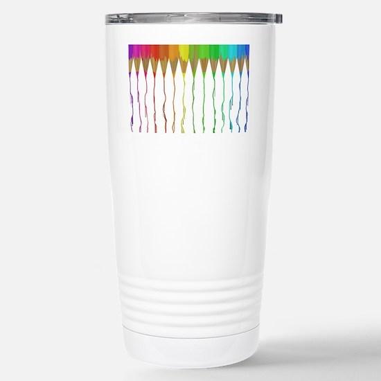 Melting Rainbow Pencils Stainless Steel Travel Mug