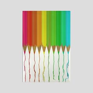 Melting Rainbow Pencils Rectangle Magnet (10 pack)