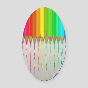 Melting Rainbow Pencils Oval Car Magnet