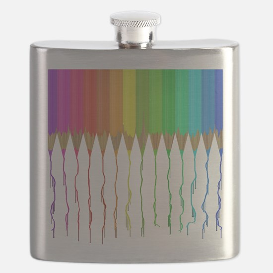 Melting Rainbow Pencils Flask