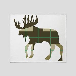 Plaid Moose Throw Blanket