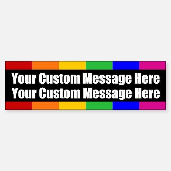 2 LINES CUSTOM Rainbow Gay Pride Bumper Car Car Sticker