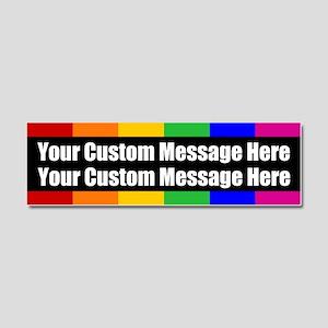 2 LINES CUSTOM Rainbow Gay Pride Car Magnet 10 x 3