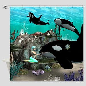 Mermaid with orca Shower Curtain