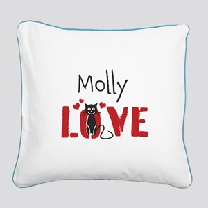 Personalize Kitty Love Square Canvas Pillow