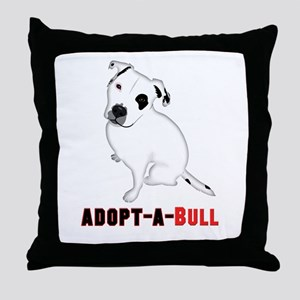 White Pitbull Puppy Adopt-a-Bull Throw Pillow