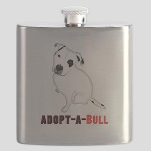 White Pitbull Puppy Adopt-a-Bull Flask