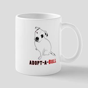 White Pitbull Puppy Adopt-a-Bull Mugs