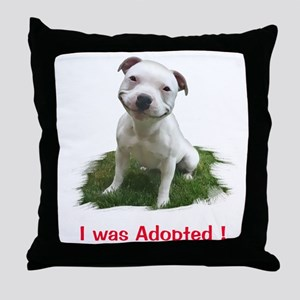 Smiling Pitbull Adopted Throw Pillow