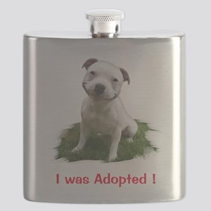 Smiling Pitbull Adopted Flask