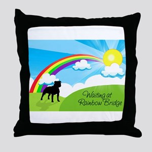 Rainbow Bridge fot Pitbulls copy Throw Pillow
