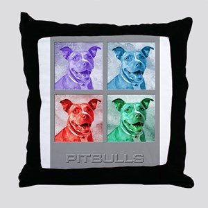 Homage to Warhol Pitbulls Throw Pillow