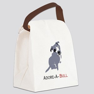 Grey Pittie Puppy Adore-A-Bull Canvas Lunch Bag