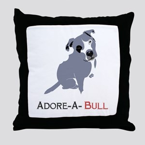 Grey Pittie Puppy Adore-A-Bull Throw Pillow