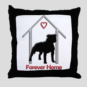 Forever Home Logo Pitbull Black Throw Pillow
