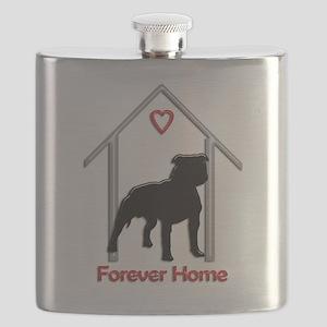 Forever Home Logo Pitbull Black Flask