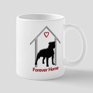 Forever Home Logo Pitbull Black Mugs