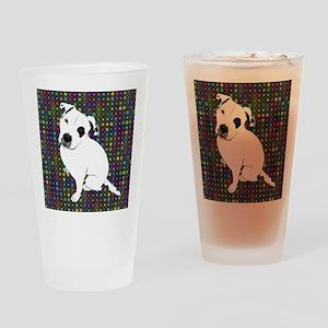 Cute white pit Bull circle pattern Drinking Glass