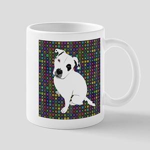 Cute white pit Bull circle pattern Mugs