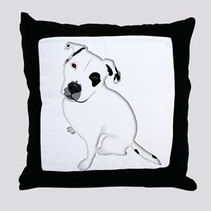Cute Pitbull PuppyWhite Shaded Throw Pillow