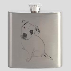 Cute Pitbull PuppyWhite Shaded Flask
