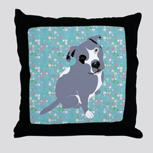 Cute grey pit Bull square pattern Throw Pillow