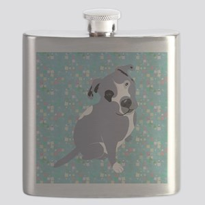 Cute grey pit Bull square pattern Flask