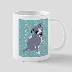 Cute grey pit Bull square pattern Mugs