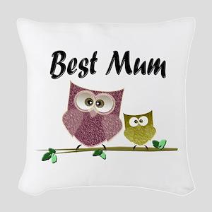 Best Mum Woven Throw Pillow