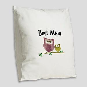 Best Mum Burlap Throw Pillow