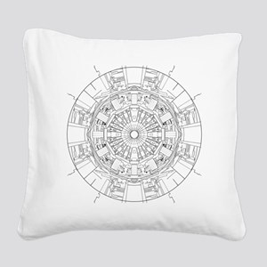 Large Hadron Collider Lineart Square Canvas Pillow