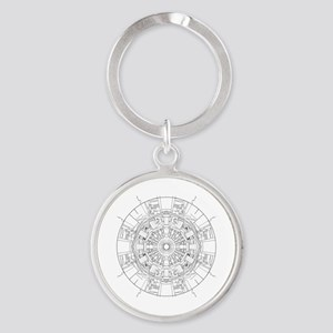 Large Hadron Collider Lineart Round Keychain