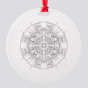 Large Hadron Collider Lineart Round Ornament