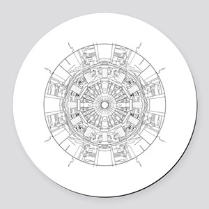 Large Hadron Collider Lineart Round Car Magnet