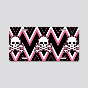 Gothic Pink Skull Chevron Pattern Aluminum License