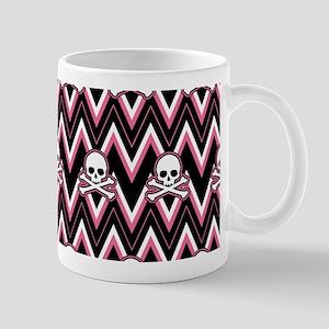 Gothic Pink Skull Chevron Pattern Mugs